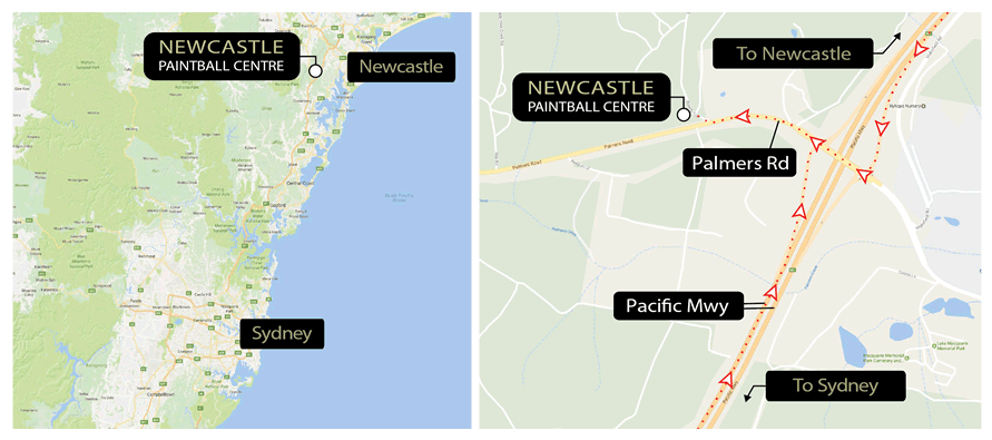 Newcastle Paintball NSW Region Map